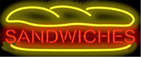 Sandwiches NEON SIGN Real GLASS Tube Beer PUB Restaurant Signboard display Decorate Shop food Burger BBQ Light Signs 17*14""