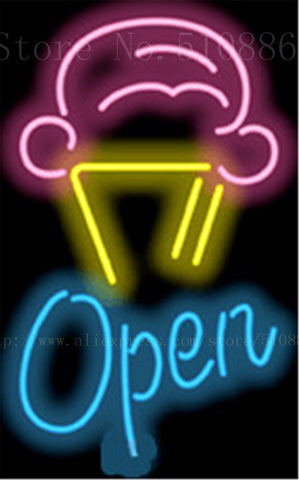 "17*14"" Ice Cream Cone with Open NEON SIGN REAL GLASS BEER BAR PUB LIGHT SIGNS store display  Restaurant  Shop Advertising Lights"