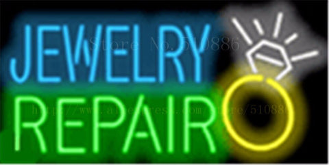 "17*14"" Jewelry Repair NEON SIGN REAL GLASS BEER BAR PUB LIGHT SIGNS store display Pawn Shop Restaurant Advertising Lights"