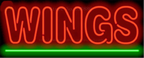 Wings NEON SIGN REAL GLASS BEER BAR PUB LIGHT SIGNS store display Restaurant shop food diet pizza subs Advertising Lights 17*14""