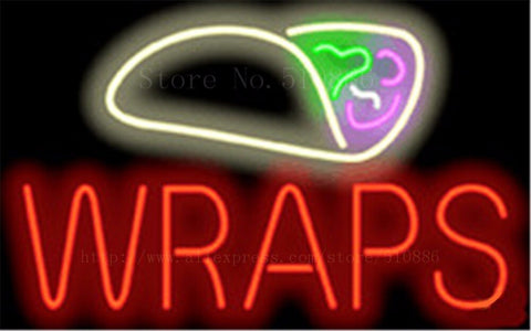 Wraps NEON SIGN REAL GLASS BEER BAR PUB LIGHT SIGNS store display Restaurant shop food diet pizza subs Advertising Lights 17*14""