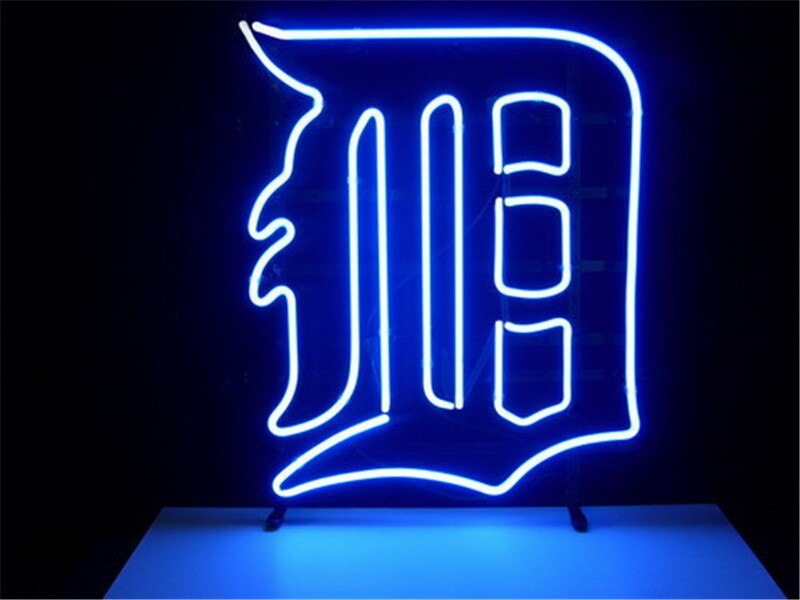 NEON SIGN For  MLB DETROIT TIGERS  Signboard REAL GLASS BEER BAR PUB  display   christmas Light Signs 17*14""