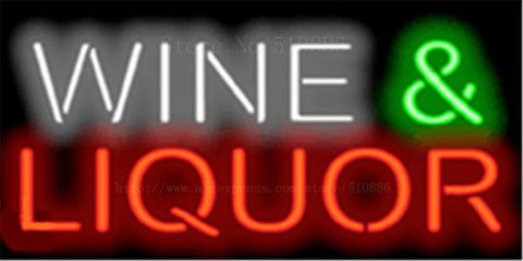 Wine & Liquor NEON SIGN REAL GLASS BEER BAR PUB LIGHT SIGNS store display Bulbs drink Advertising Lights 17*14""