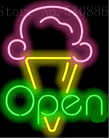 "17*14"" Ice Cream OPEN NEON SIGN REAL GLASS BEER BAR PUB LIGHT SIGNS store display  Restaurant Shop ocaasional Advertising Lights"