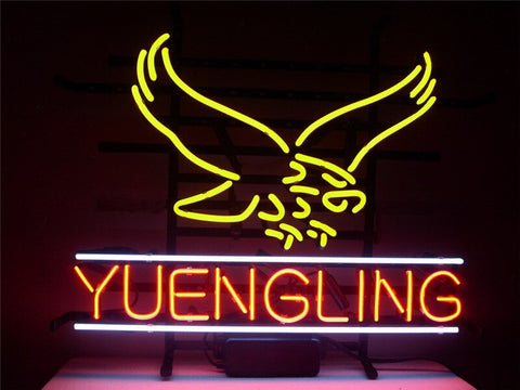 NEON SIGN For  NEW YUENGLING LAGER EAGLE  Signboard REAL GLASS BEER BAR PUB  display  christmas Light Signs 17*14""