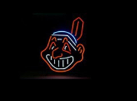 NEON SIGN For MLB CLEVELAND INDIANS BASEBALL   Signboard REAL GLASS BEER BAR PUB  display Restaurant  outdoor Light Signs 17*14""