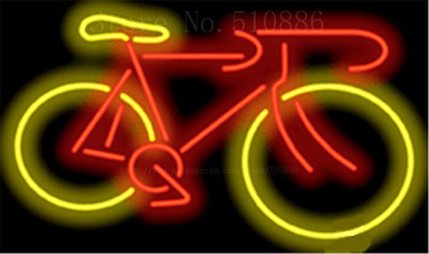 "17*14"" Bicycle NEON SIGN REAL GLASS BEER BAR PUB LIGHT SIGNS store display Packing occasional business Bulbs Advertising Lights"