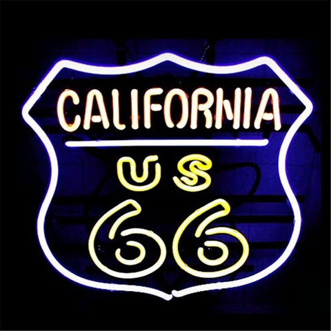 "17*14"" CALIFORNIA ROUTE 66 NEON SIGN Signboard REAL GLASS BEER BAR PUB  Billiards display  Restaurant  Shop outdoor Light Signs"