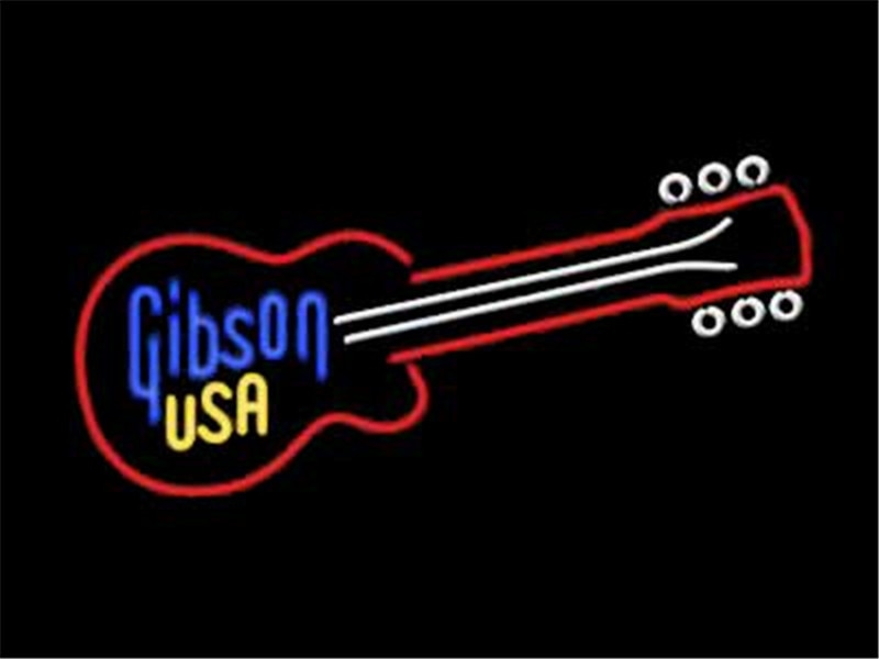 NEON SIGN For GIBSON USA GUITAR Signboard REAL GLASS BEER BAR PUB  display Restaurant  christmas Light Signs 17*14""