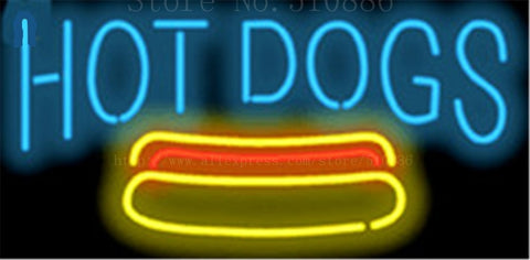 Hot Dogs NEON SIGN Real GLASS Tube Beer PUB Restaurant Signboard store display Decorate Store Shop food drink Light Signs 17*14""