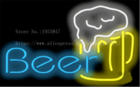 Beer with Mug Glass Drink NEON SIGN REAL GLASS BEER BAR PUB LIGHT SIGNS store display Bulbs Desserts Pastries Lights 19*15""