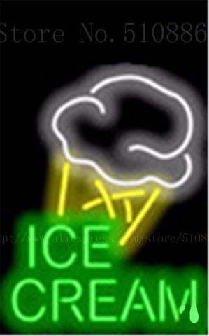 "17*14"" Ice Cream with Brand Name NEON SIGN REAL GLASS BEER BAR PUB LIGHT SIGNS display store Restaurant Shop Advertising Lights"