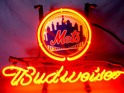 Custom Business NEON SIGN board For  New York NY METS Baseball GLASS Tube BEER BAR PUB Club Shop Light Signs 17*14""