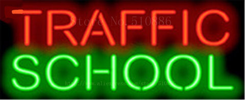 "Traffic School Training Car Tube Neon sign Beer Club Handcrafted Automotive signs Shop Store Business Signboard Signage 17""x14"""