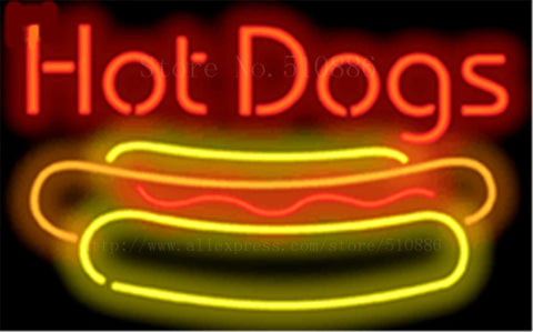 "Hot Dogs with Dog neon sign Handcrafted Light Bar Beer Pub Club signs Shop Business Signboard diet food diner break 17""x14"""