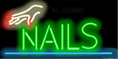 "17*14"" Nails with Hand NEON SIGN REAL GLASS BEER BAR PUB LIGHT SIGNS store display Restaurant Shop beauty Advertising Lights"