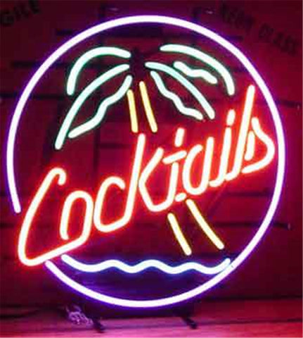 NEON SIGN For COCKTAILS PALM TREE Signboard REAL GLASS BEER BAR PUB  display  christmas Light Signs 17*14""