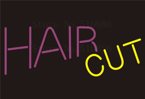 Custom NEON Sign Board Hair Cut Salon Glass Tube Beer Party Bar Club Pub Display Store Shop Light Signboard Signage Signs 17*14""