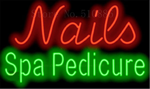"17*14"" Nails Spa Pedicure NEON SIGN REAL GLASS BEER BAR PUB LIGHT SIGNS store display  Packing  Garage Bulbs Advertising Lights"