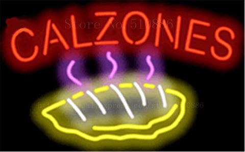 Calzones NEON SIGN REAL GLASS BEER BAR PUB LIGHT SIGNS store display Restaurant Advertising food pizza dinning Lights 17*14""