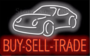 "Buy-Sell-Trade Auto Car Repair Real Glass Tube Car neon sign Handcrafted Automotive Shop Store Signs Signboard Signage 19""x15"""