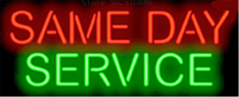 "Same Day Service Car Auto Tube Neon sign Beer Club Handcrafted Automotive signs Shop Store Business Signboard Signage 17""x14"""