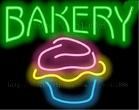 Bakery with Cupcake NEON SIGN REAL GLASS BEER BAR PUB LIGHT SIGNS store display Packing bakey Bulbs Desserts food Lights 17*14""