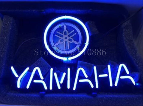 NEON SIGN For Yamaha Motorcycle and Engine Real Garage  GLASS Tube BEER BAR PUB  store display  Shop Light Signs 17*14""
