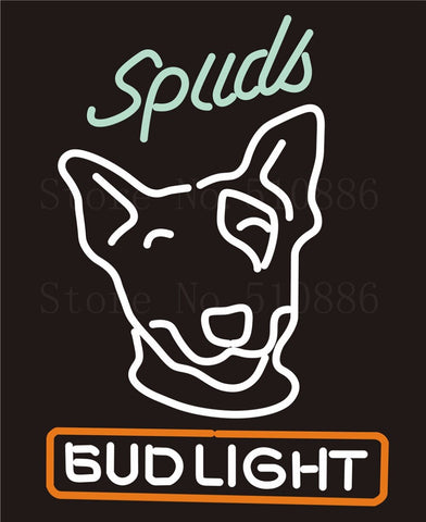 Custom Signage NEON SIGNS For Bud Light Spuds GLASS Tube BAR PUB Signboard Display Decorate Store Shop Light Sign 17*14""