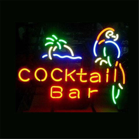 NEON SIGN For COCKTAIL BAR PARROT Signboard REAL GLASS BEER BAR PUB  display  Restaurant  Shop christmas Light Signs 17*14""