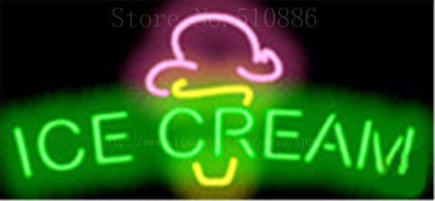 "17*14"" Ice Cream NEON SIGN REAL GLASS BEER BAR PUB LIGHT SIGNS store display Restaurant Shop ocaasional Advertising Lights"