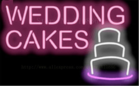 Wedding Cakes NEON SIGN REAL GLASS BEER BAR PUB LIGHT SIGNS store display Packing bakey Bulbs Desserts food Lights 17*14""