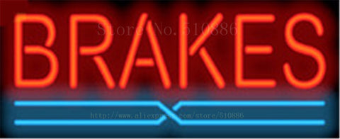 "Brake Auto Real Glass Tube neon sign Beer Pub Club Handcrafted Automotive signs Shop Store Business Signboard signage 17""x14"""