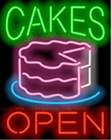 Cakes Open NEON SIGN REAL GLASS BEER BAR PUB LIGHT SIGNS store display bakey Bulbs Desserts food Lights 17*14""