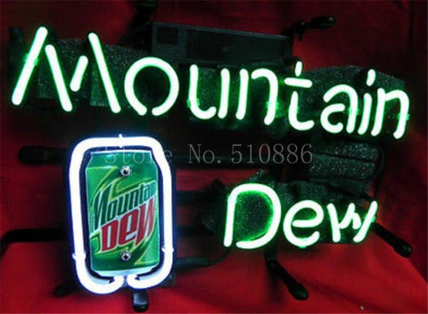 NEON SIGN For PepsiCo Mountain Dew Soft Drink Brand Garage  GLASS Tube BEER BAR PUB  store display  Shop Light Signs 17*14""