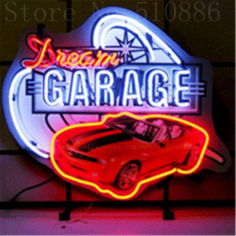 "Dream Garage Camaro   Real Glass Tube neon sign Pub  Handcrafted Automotive signs Shop Store Business Signboard signage 17""x14"""