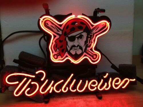 Business NEON SIGN board For   PITTSBURGH PIRATES BASEBALL BUDWEISER REAL GLASS Tube BEER BAR PUB Club Shop Light Signs 17*14""