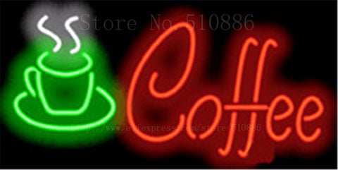 "Hot Coffee Cafe Neon sign Real Glass Tube Bulbs Light Bar Beer Club Custom Neon signs Store Decoration Demor Signboard 17""x14"""