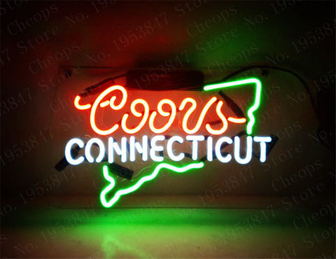 Coors Light CONNECTICUT  Gift Neon Signs Real Glass Tube  Open  Beer Bar Pub Homeroom Girlsroom Party Decor 14x9