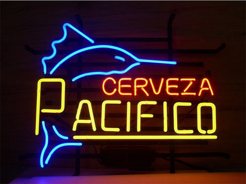 NEON SIGN Fish For Shark PACIFICO CLARA MEXICAN CERVEZA   Signboard REAL GLASS BEER BAR PUB  display  outdoor Light Signs 17*14""