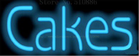 Cakes NEON SIGN REAL GLASS BEER BAR PUB LIGHT SIGNS store display Bulbs Desserts food bread Pastries Lights 17*14""