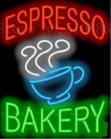 "Espresso Bakery Cafe Neon sign Glass Tubes Light Bar Beer Club Custom Neon signs Bulb Store Decoration Signboard signage 19""x15"""