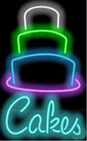 Cakes NEON SIGN REAL GLASS BEER BAR PUB LIGHT SIGNS store display bakery dessert pastry food Advertising Lights 17*14""