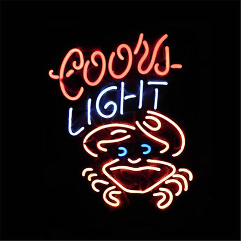 NEON SIGN For COORS LIGHT CRAB     Signboard REAL GLASS BEER BAR PUB  display  RESTAURANT outdoor Light Signs 17*14""