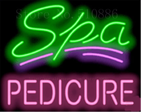 "17*14"" Spa with Pedicure NEON SIGN REAL GLASS BEER BAR PUB LIGHT SIGNS store display  Packing  Garage Bulbs Advertising Lights"