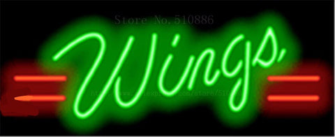 Wings NEON SIGN REAL GLASS BEER BAR PUB LIGHT SIGNS store display Packing Food Drink Bulbs pizza subs Advertising Lights 17*14""