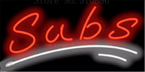 Subs NEON SIGN REAL GLASS BEER BAR PUB LIGHT SIGNS store display Restaurant shop food wings pizza Advertising Lights 17*14""