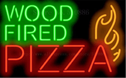 Wood Fired Pizza NEON SIGN REAL GLASS BEER BAR PUB LIGHT SIGNS store display Packing Food Diet drink Advertising Lights 17*14""