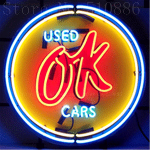 "Chevy Vintage OK Used Cars with Silkscreened Backing Real Glass Tube neon sign Handcrafted Automotive signs Shop Signage 18""x18"""