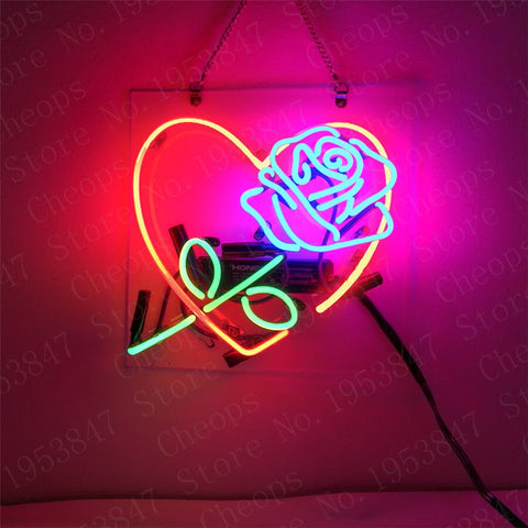Love Rose Have Is Now Girls Pink Gift Neon Signs Real Glass Tube Beer Bar Pub Homeroom Girlsroom Party Decor 10x10